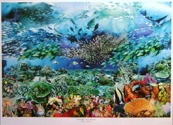 An underwater paradise collage poster detail
